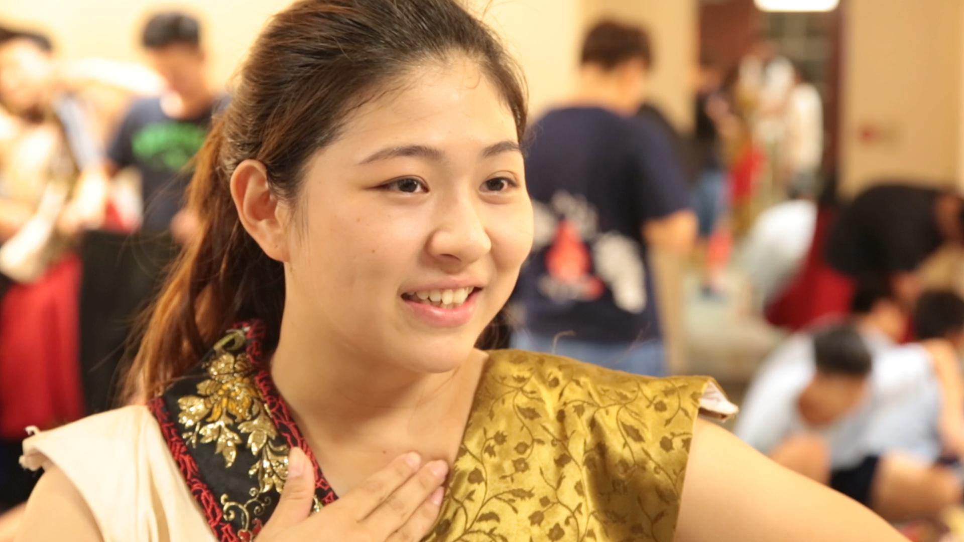 台南大學民俗隊隊長葉欣宜分享表演完的心情.jpg
